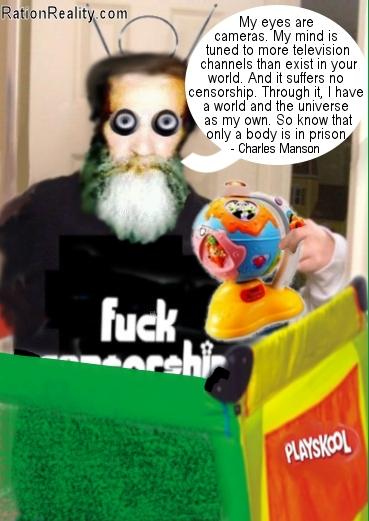 charles manson in a playpen